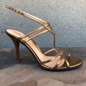 Sergio Rossi bronze strappy sandal heels